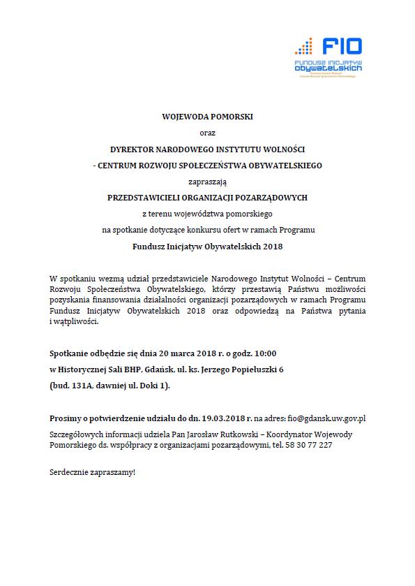 Rusza kolejna edycja Funduszu Inicjatyw Obywatelskich (FIO)