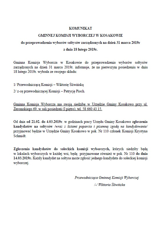 Komunikat Gminnej Komisji Wyborczej  w Kosakowie