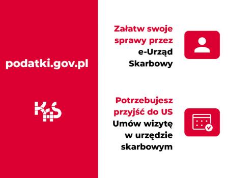 Możliwość załatwienia spraw skarbowych przeze-Urząd Skarbowy iumówienie wizyty napodatki.gov.pl