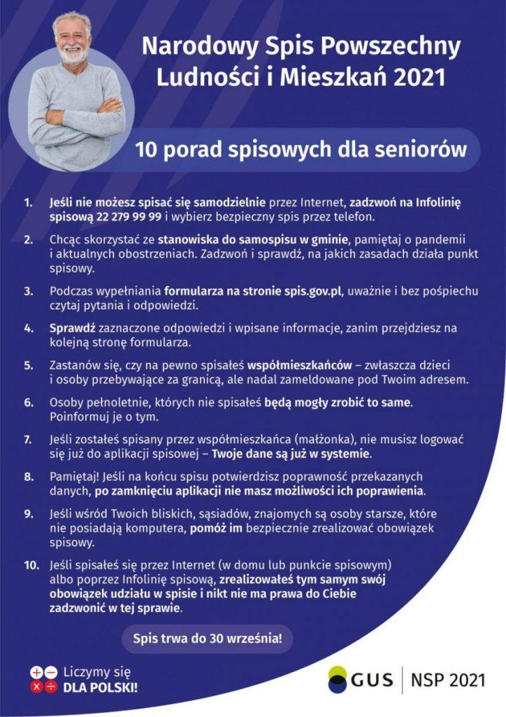 plakat: 10 porad spisowych dla seniora